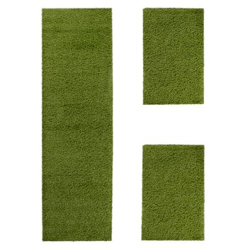 Bedside Runner Rug / 3-Part Carpet Runner Set / Shaggy Carpet in Green – Bild 2