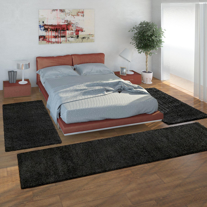 Bedside Runner Rug / 3-Part Carpet Runner Set / Shaggy Carpet in Black