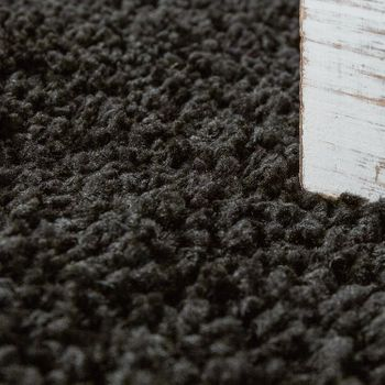Bedside Runner Rug / 3-Part Carpet Runner Set / Shaggy Carpet in Black – Bild 5