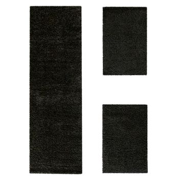 Bedside Runner Rug / 3-Part Carpet Runner Set / Shaggy Carpet in Black – Bild 2