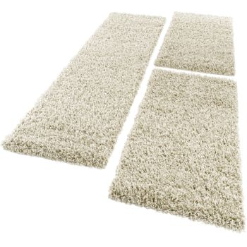 Bedside Runner Rug / 3-Part Carpet Runner Set / Shaggy Carpet in Cream – Bild 5