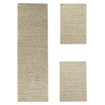 Bedside Runner Rug / 3-Part Carpet Runner Set / Shaggy Carpet in Cream – Bild 2