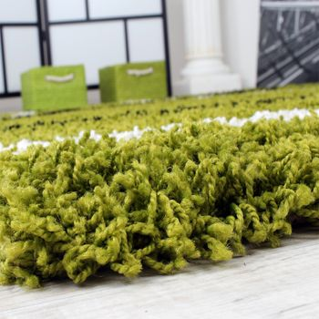 Shaggy carpet High Pile Long Pile Patterned in Green Black White – Bild 3