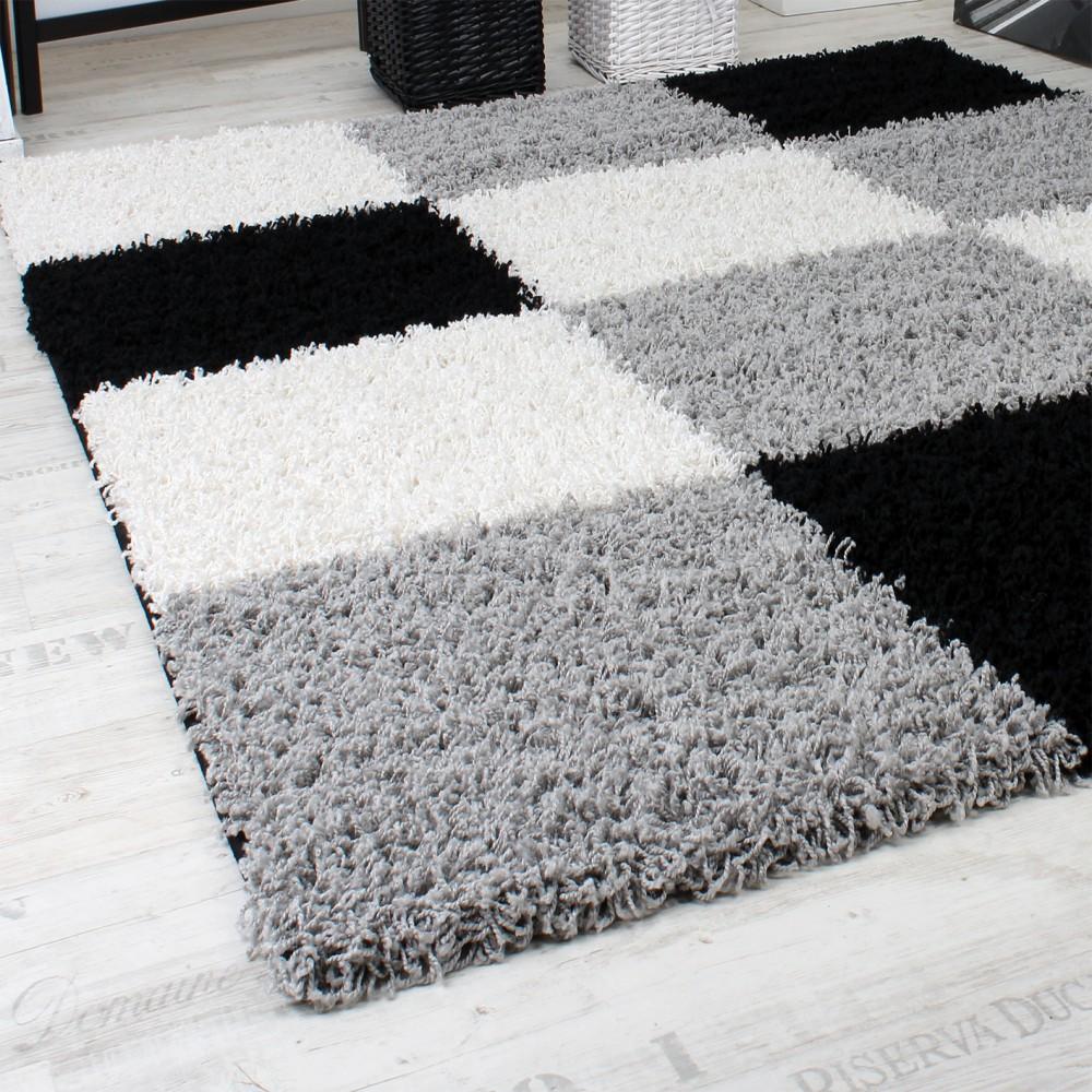 shaggy teppich hochflor langflor gemustert in karo grau schwarz weiss teppiche hochflor teppiche. Black Bedroom Furniture Sets. Home Design Ideas