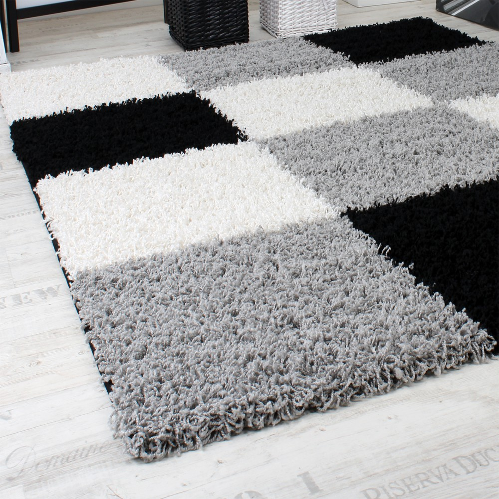 shaggy gemustert karo hochflor teppiche. Black Bedroom Furniture Sets. Home Design Ideas