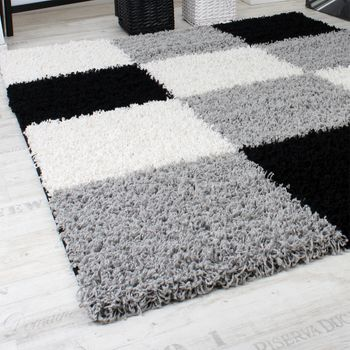 Shaggy Carpet High Pile Long Pile Chequered in Grey Black White – Bild 5