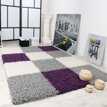 Shaggy Carpet High Pile Long Pile Chequered in Purple Black White – Bild 1