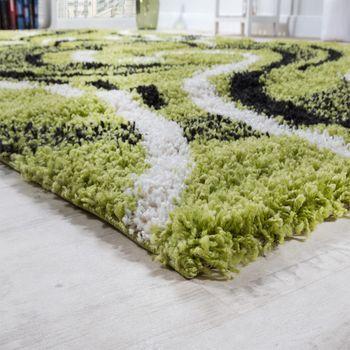 Bettumrandung Läufer Shaggy Hochflor Teppich Gemustert Grün Läuferset 3 Tlg – Bild 2