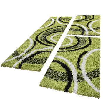 Bettumrandung Läufer Shaggy Hochflor Teppich Gemustert Grün Läuferset 3 Tlg – Bild 1