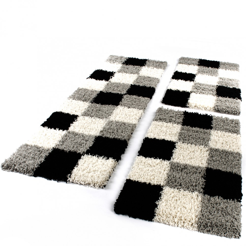 tapis de contour de lit de couloir poils longs carreaux gris noir blanc 3 pcs tapis cadres de lit. Black Bedroom Furniture Sets. Home Design Ideas