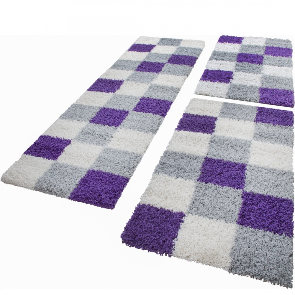 Shaggy Rug - Bedroom Runners - Set of 3 - Checked - Purple White