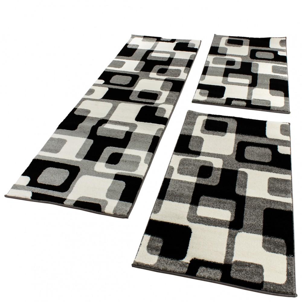 Bed Border Runner Grey Black and White Runner Set in Retro Design Three-Piece