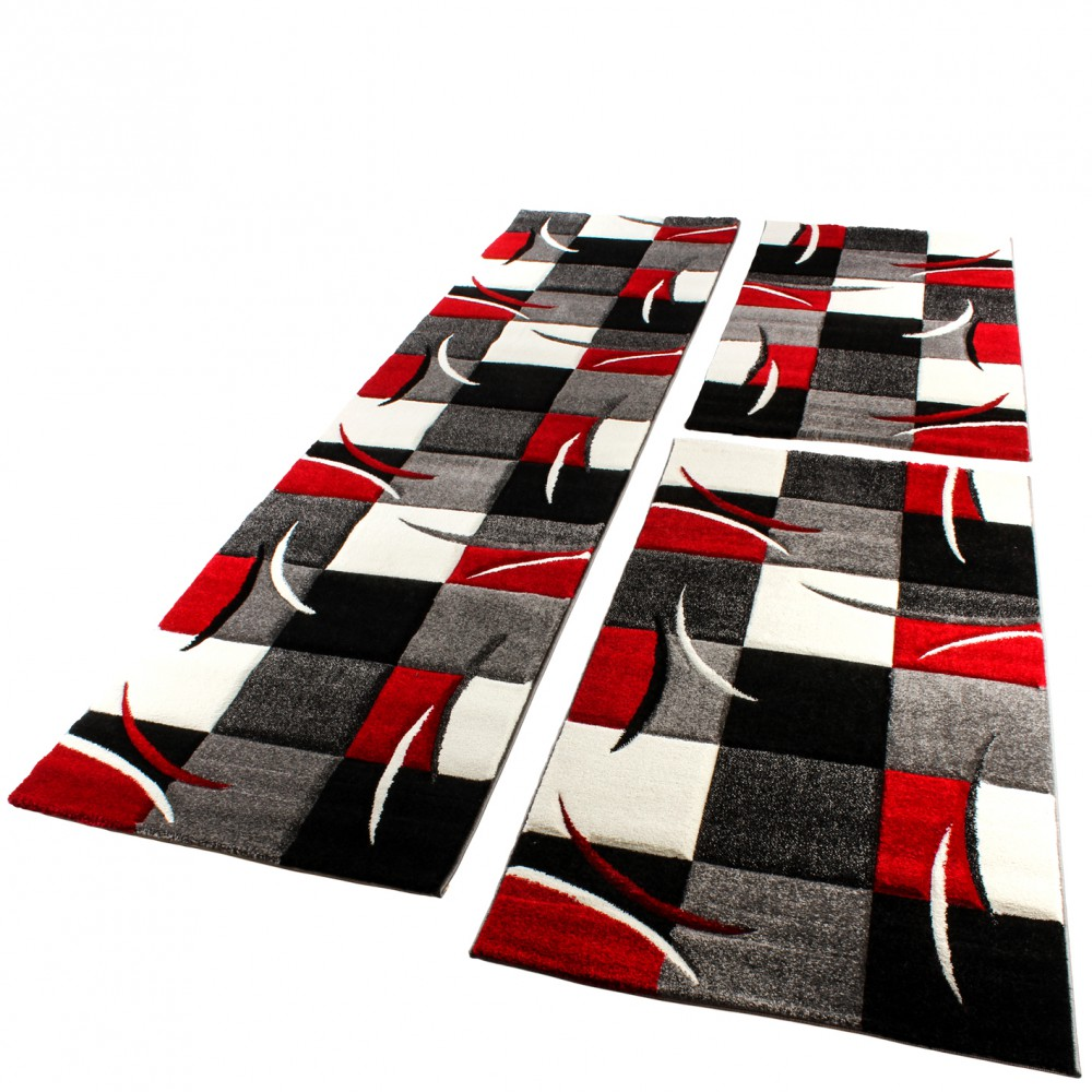 Designer Rug - Bedroom Runners - Set of 3 - Checked - Red Grey Black White