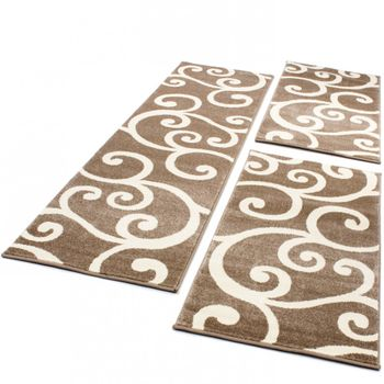 Bedroom Runners - Swirl - Beige Cream