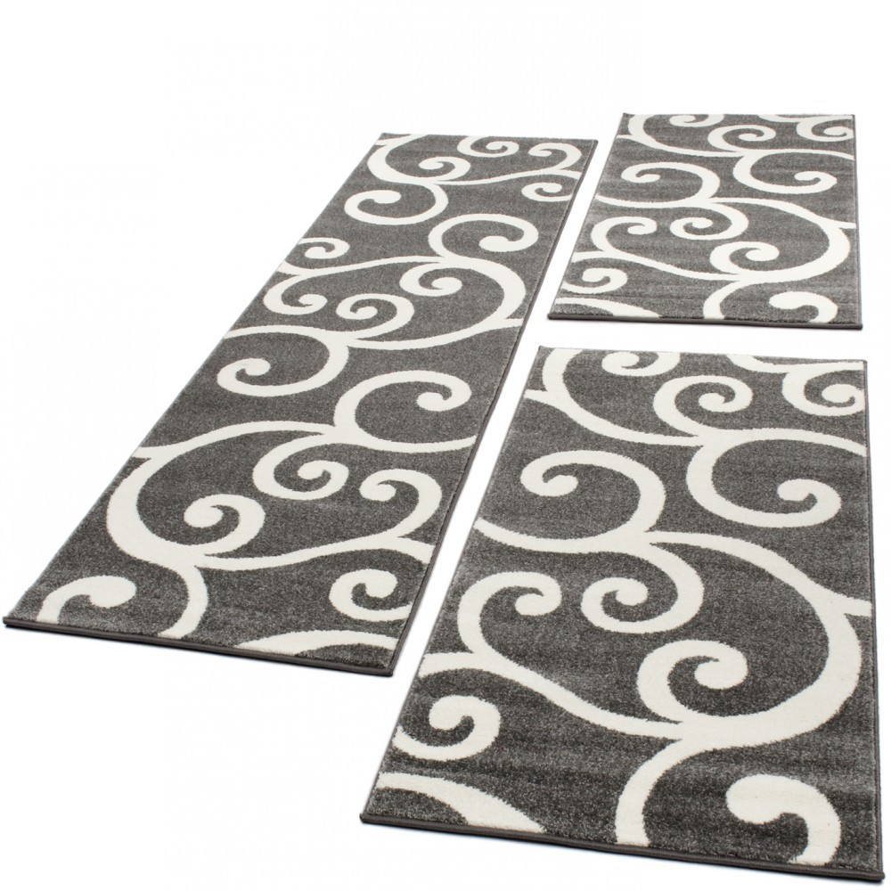 Designer Rug - Bedroom Runners - Set of 3 - Swirl - Grey White
