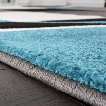 Bettumrandung Läufer Teppich Kariert in Türkis Grau Schwarz Weiß Läuferset 3 Tlg – Bild 2
