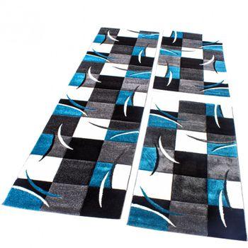 Bettumrandung Läufer Teppich Kariert in Türkis Grau Schwarz Weiß Läuferset 3 Tlg – Bild 1