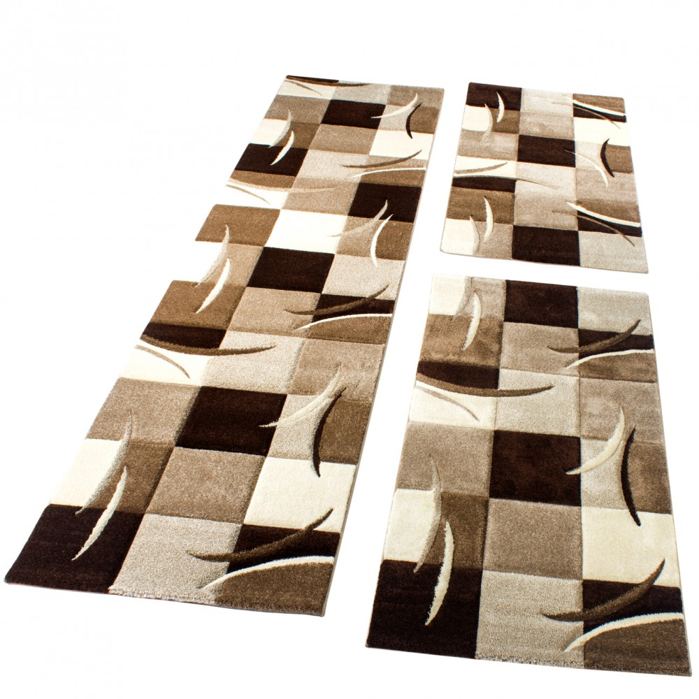 tapis descente de lit avec motifs carreaux bruns beige cr me 3 pcs tapis cadres de lit. Black Bedroom Furniture Sets. Home Design Ideas