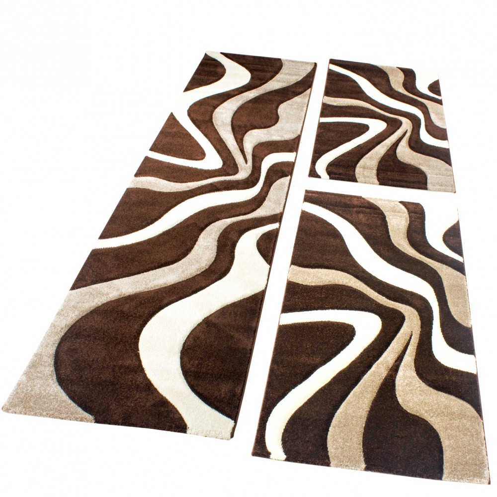 Designer Rug - Bedroom Runners - Set of 3 - Wave Pattern - Brown Beige Cream