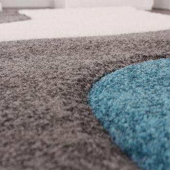 Bettumrandung Läufer Teppich Muster Modern Türkis Grau Weiss Läuferset 3 Tlg. – Bild 3