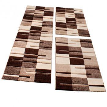 Bettumrandung Läufer Teppich Kariert Modern Beige Creme Braun Läuferset 3 Tlg. – Bild 1