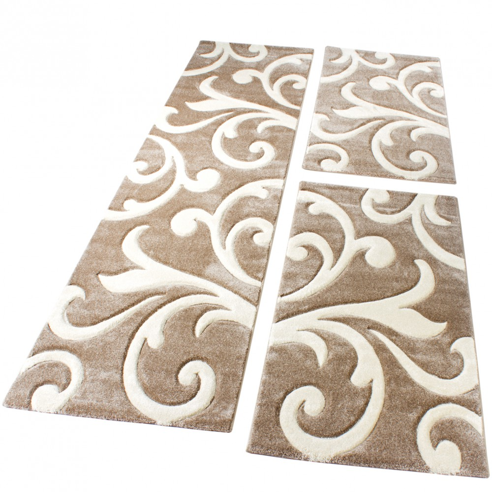 Designer Rug - Bedroom Runners - Set of 3 - Baroque Pattern - Beige Cream