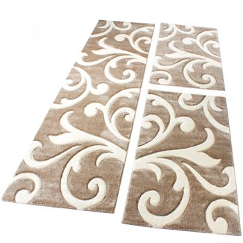 Designer Rug Baroque Set of 3 Beige