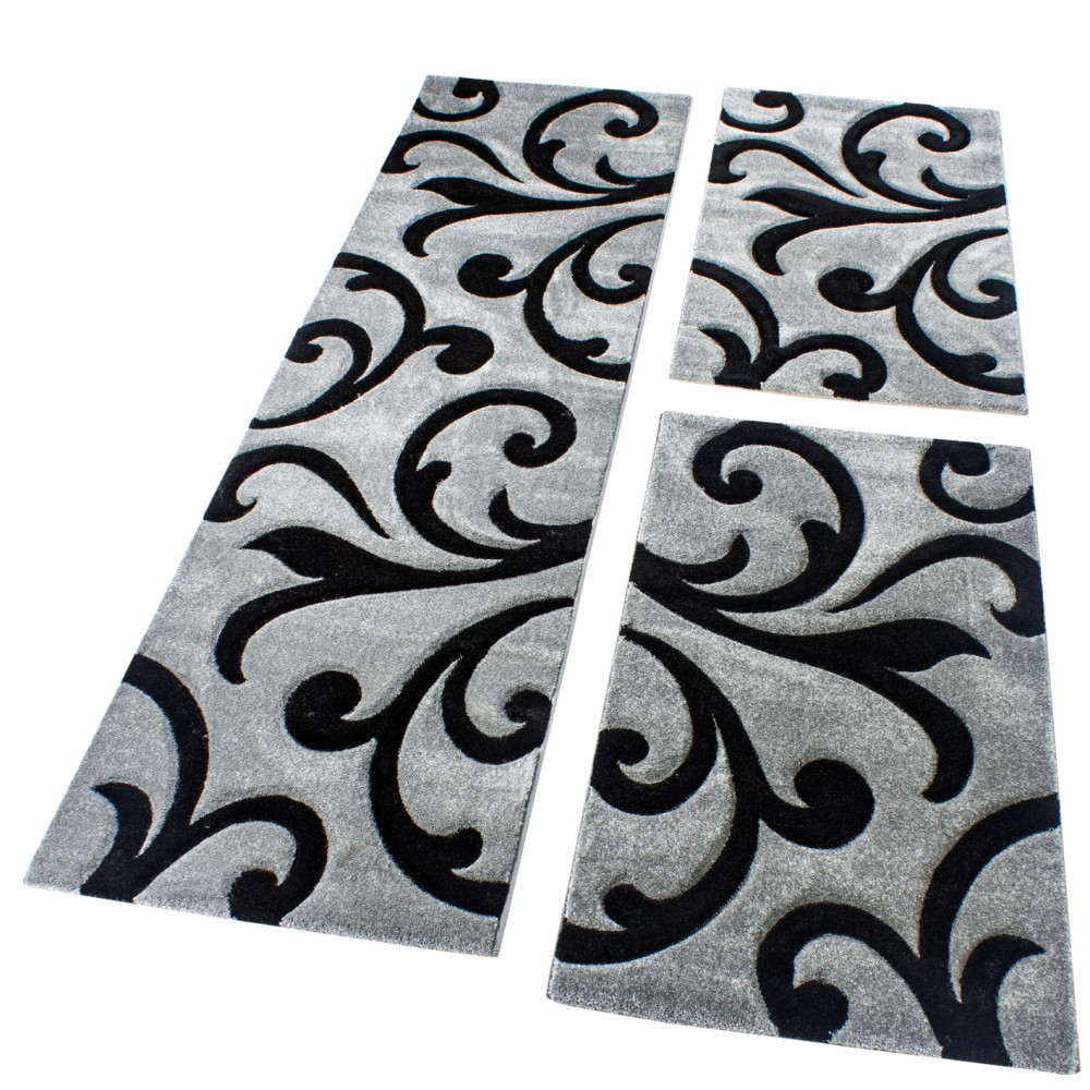 Modern Carpet Bed Border Runners Grey Black Runner Set Tendril Pattern Three-Piece