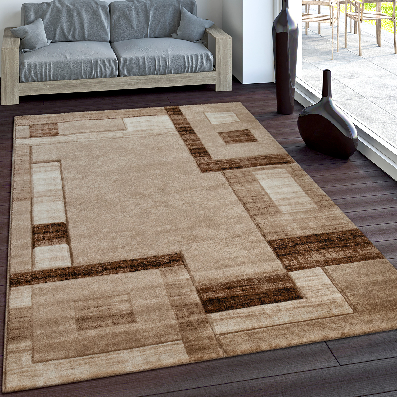 Luxury Designer Rug - Contour Cut - Geometric Checked - Mottled Brown Beige