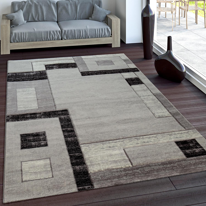 Luxury Designer Rug - Contour Cut - Geometric Checked - Mottled Grey Black