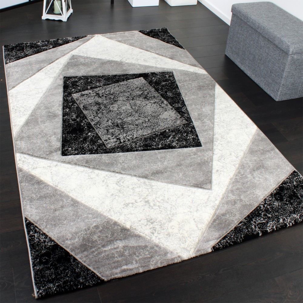Luxury Designer Rug - Contour Cut - Geometric Checked - Mottled Cream Black Grey