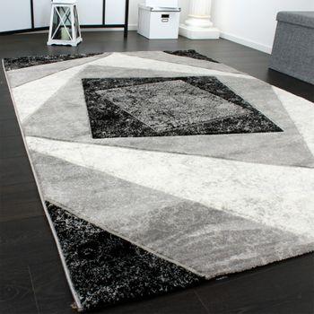 Edler Designer Teppich mit Konturenschnitt Kariert in Grau Schwarz Creme Meliert – Bild 2