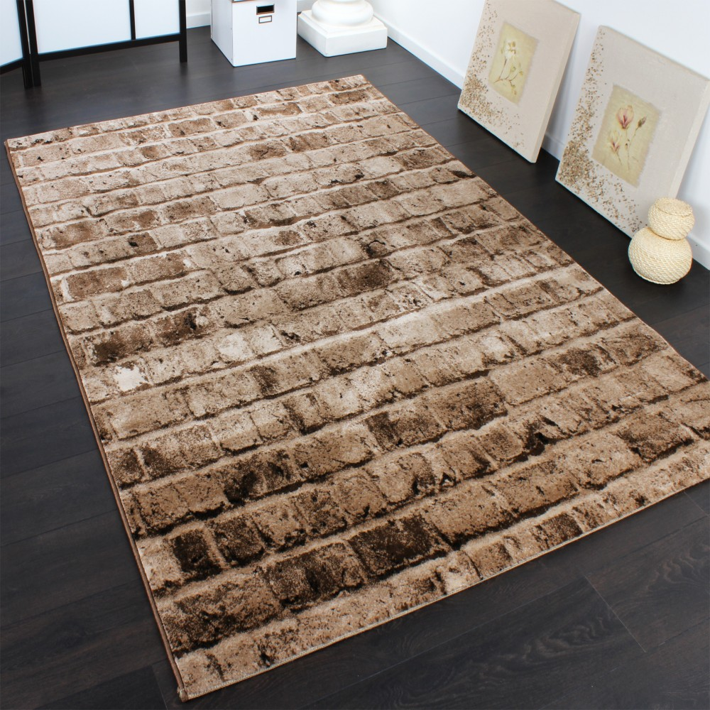 Elegant Designer Carpet With Stone Wall Pattern In A Mixture Of Brown and Beige