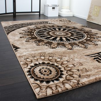 Carpet With Classic Pattern Circle Ornaments In A Mixture Of Brown and Beige – Bild 2