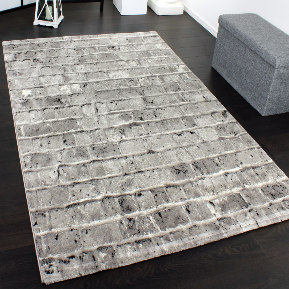 Elegant Designer Carpet With Stone Wall Pattern In A Mixture Of Grey Silver