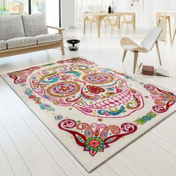 Carpet Modern Tattoo Style Mexican Skull Multicolour