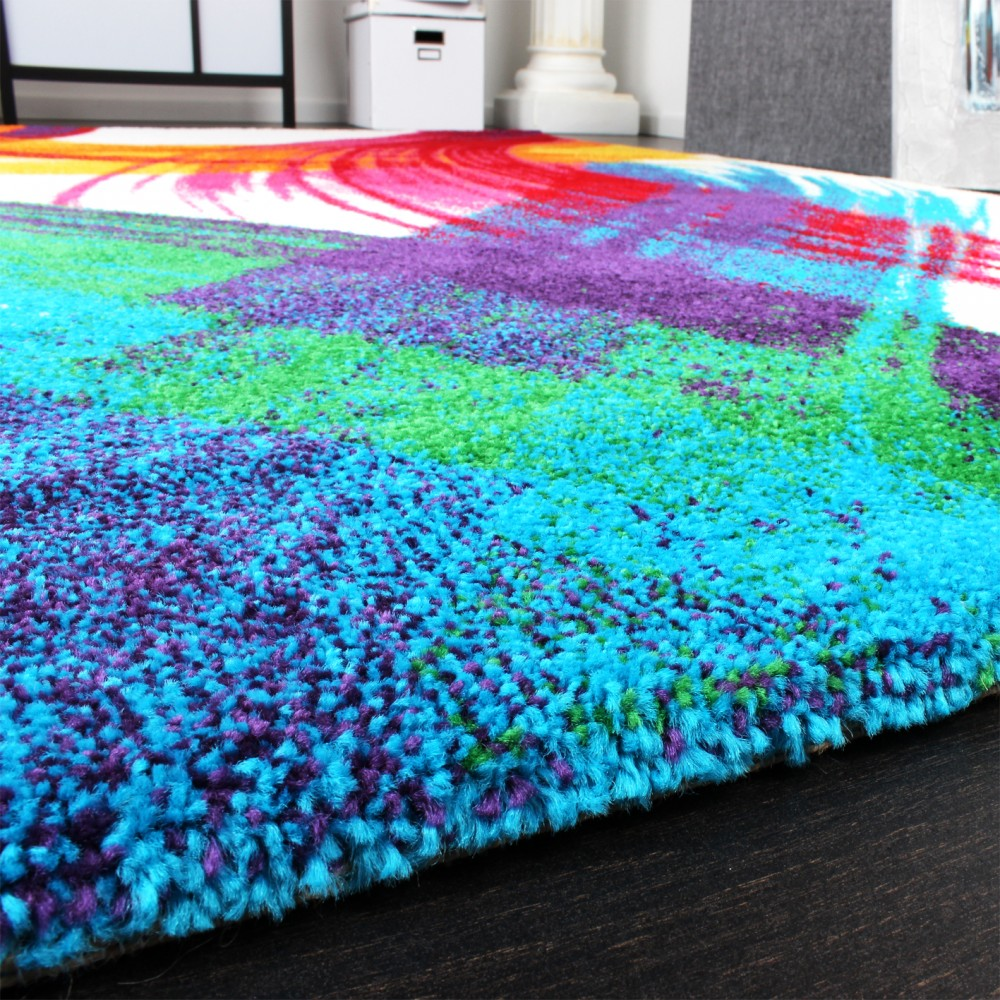 Rug Modern Canvas Design Carpet Intense Colour Mix Multi