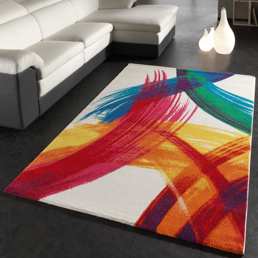 Rug Modern Canvas Design Carpet Intense Colour Mix Multi-coloured