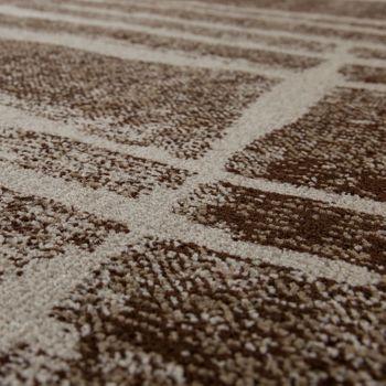 Designer Teppich Modern Trendiger Kurzflor Braun Beige Creme Meliert – Bild 3