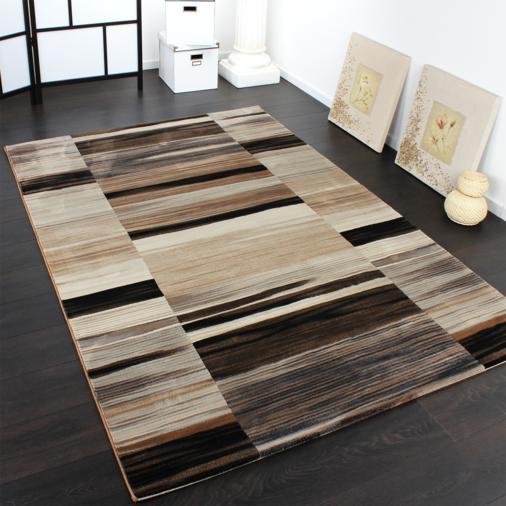 Luxury Designer Rug - Stripes - Faded - Brown Beige Black