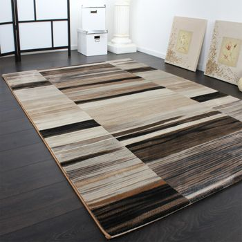 Luxury Designer Rug - Stripes - Faded - Brown Beige Black – Bild 2