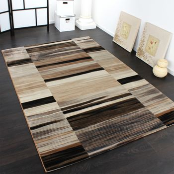 Luxury Designer Rug - Stripes - Faded - Brown Beige Black – Bild 1