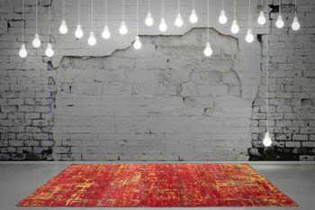 Hand Woven Rug - Sari - Pure Silk - Red – Bild 3