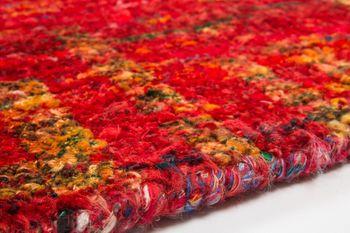 Hand Woven Rug - Sari - Pure Silk - Red – Bild 5