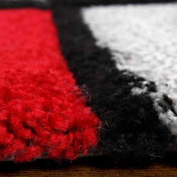 Designer Carpet Modern Rug Chequered  Contour Cut Pattern Grey Red Top Quality  – Bild 2