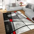 Tapis Moderne Carreaux Gris Rouge  001