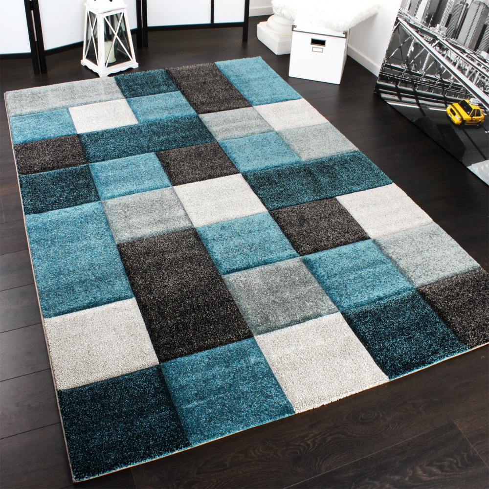 Designer Carpet Checkered Modern Rug Contour Cut Pattern Turquise Top Quality