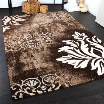 Designer Carpet Floral Brown Creme