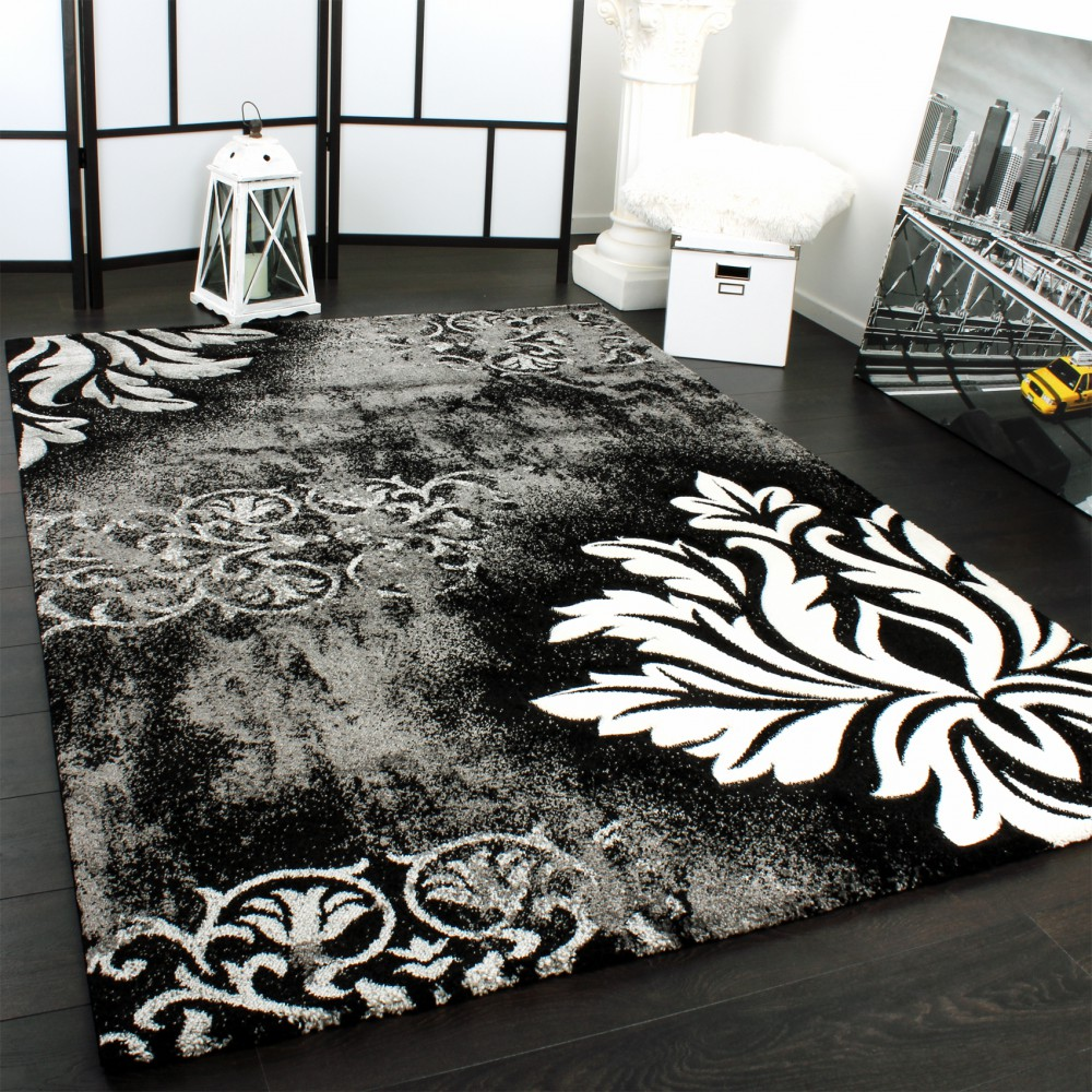 Designer Carpet Modern Rug Contour Cut Pattern Florak Grey White Black