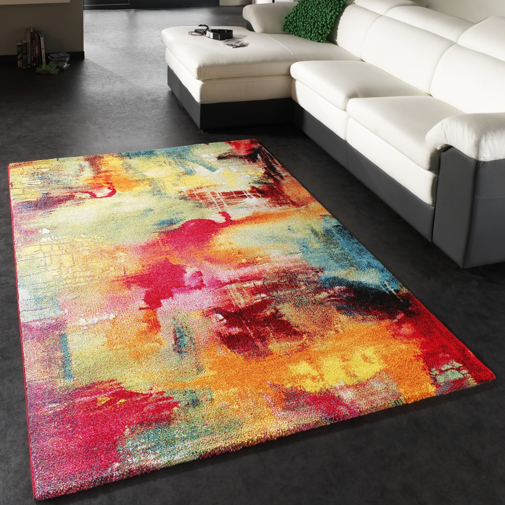 Designer Rug Contemporary Textured Canvas Mottled Green Blue Red Yellow